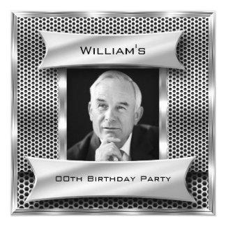 Foto-Geburtstag Blick der Männer Vintager Quadratische 13,3 Cm Einladungskarte