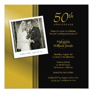 Foto-goldenes 50. Hochzeits-Jahrestags-Party Quadratische 13,3 Cm Einladungskarte