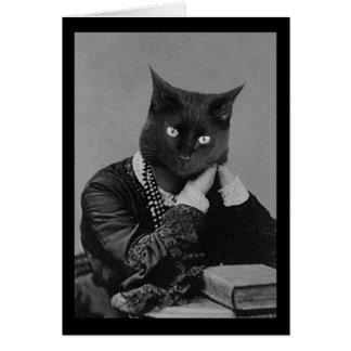 Foto-Grußkarte der schwarzen Katze viktorianische Karte