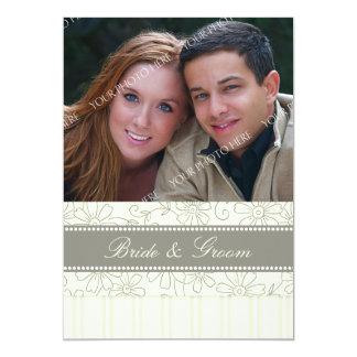 Foto-Hochzeits-Einladungs-beige Streifen u. mit 12,7 X 17,8 Cm Einladungskarte