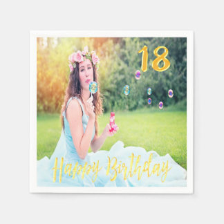 Foto-Imitat-Goldskript des 18. Geburtstags-Party Papierservietten