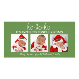 Foto-Karte des Babys erste des Weihnachtendrei Karte