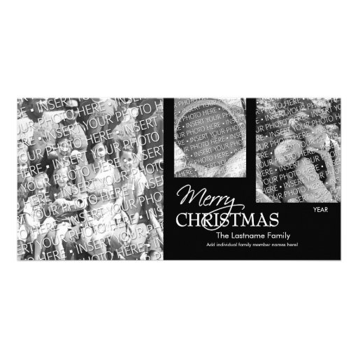 Foto-Karte: Schwarzes u. Weiß der frohen Weihnacht Individuelle Photo Karten