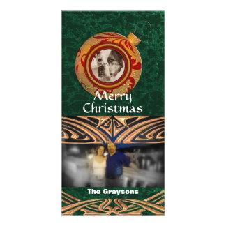 Foto-Karten-Goldgrün-frohe Weihnachten des Karte
