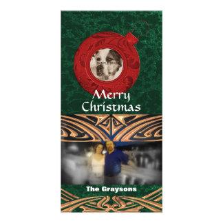 Foto-Karten-rote grüne frohe Weihnachten des Karte