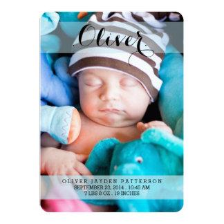 Foto-moderne Geburts-Mitteilung des süßesten 12,7 X 17,8 Cm Einladungskarte