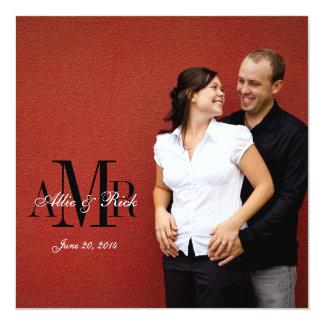 Foto-Monogrammzebra-Hochzeits-Einladungs-Front Quadratische 13,3 Cm Einladungskarte