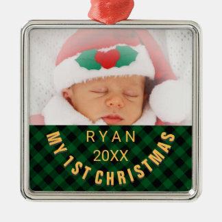 Foto-Namen-Jahr-Grün des Babys 1. Quadratisches Silberfarbenes Ornament