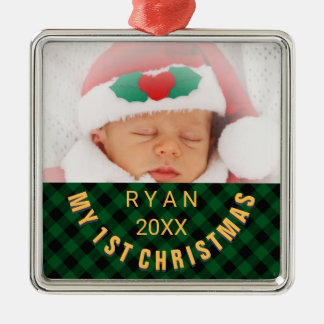Foto-Namen-Jahr-Grün des Babys 1. Silbernes Ornament