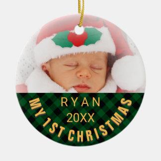 Foto-Namen-Jahr-Grün des Babys erstes Rundes Keramik Ornament