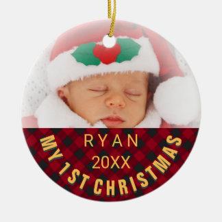 Foto-Namen-Jahr-rotes kariertes des Babys ersten Keramik Ornament