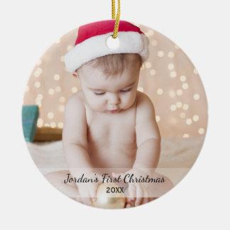 Foto-NameYea des personalisierten Babys erster Keramik Ornament