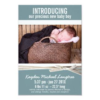 Foto-neue Baby-Jungen-Geburts-Mitteilung 8,9 X 12,7 Cm Einladungskarte