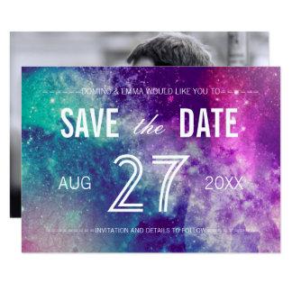 Foto-Pastellgalaxie-Save the Date Karten Karte