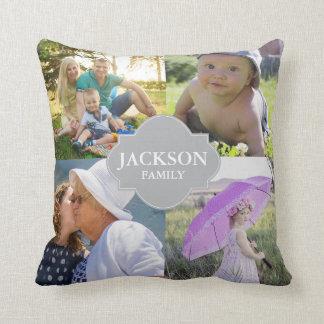 Foto Pillows, 4 Collagen-Fotos mit Familiennamen Kissen