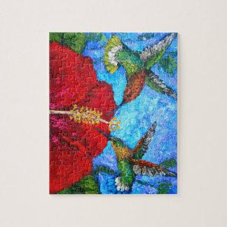 Foto-Puzzlespiel mit dem Kolibri-Malen Puzzle