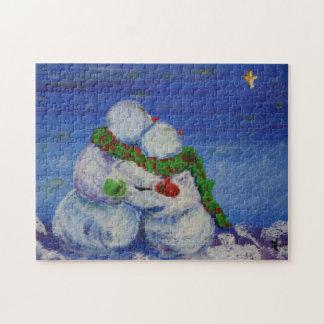 Foto-Puzzlespiel Romancing Snowman-11x14 mit Puzzle
