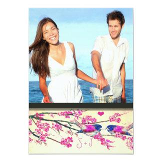 Foto-rosa Marine-Liebe-Vogel-Kirschblüten-Hochzeit 12,7 X 17,8 Cm Einladungskarte