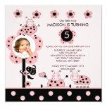 Foto-rosa u. schwarze quadratische 13,3 cm einladungskarte