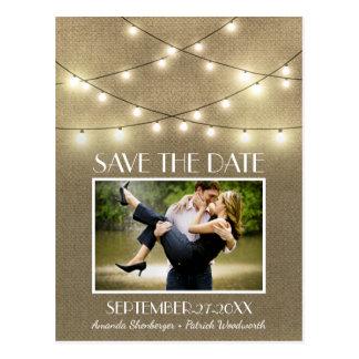 Foto-rustikale Licht-Leinwand-Save the Date Postkarte