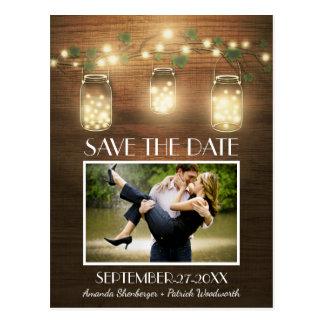 Foto-rustikale Maurer-Glas-Save the Date Postkarte
