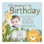 Foto-Safari-Dschungel-Tierkindergeburtstags-Party Quadratische 13,3 Cm Einladungskarte