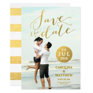 Foto-Save the Date Karte des Goldfolien-Glamour-| 12,7 X 17,8 Cm Einladungskarte