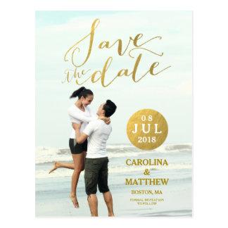 Foto-Save the Date Postkarte des Goldfolien-Glamou