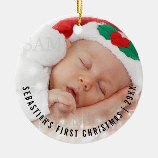 Foto-Schablone des personalisierten Babys erste Keramik Ornament