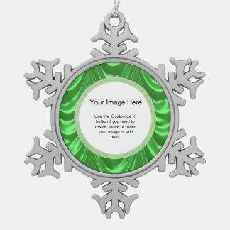 Foto-Schablone - luxuriöses Grün mit Rüschen Schneeflocken Zinn-Ornament