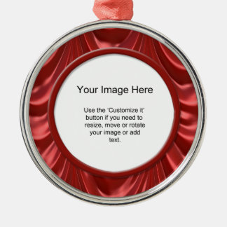 Foto-Schablone - luxuriöses Rot mit Rüschen Silbernes Ornament
