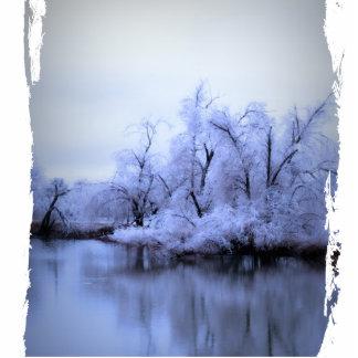 Foto-Skulptur, Weide-Winter-Märchenland Fotoskulptur Schlüsselanhänger