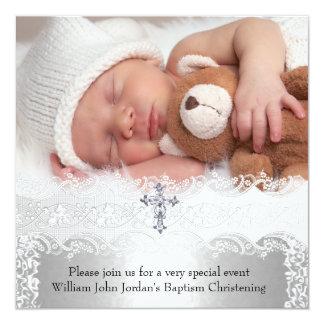 Foto-Taufe-Spitze-Kreuz-Baby-Jungen-Mädchen-Silber Quadratische 13,3 Cm Einladungskarte