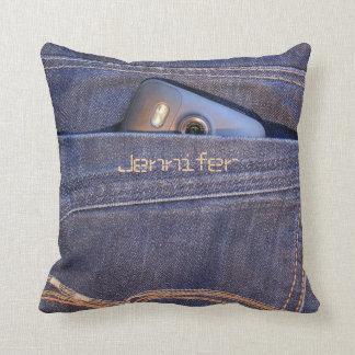 Foto-Telefon im Taschenmonogrammnamen der blauen Kissen