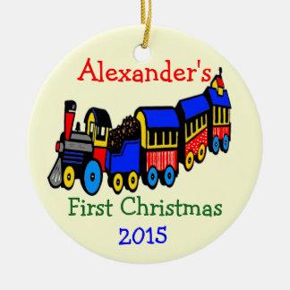 Foto-und Spielzeug-Zug-erstes Weihnachten Rundes Keramik Ornament