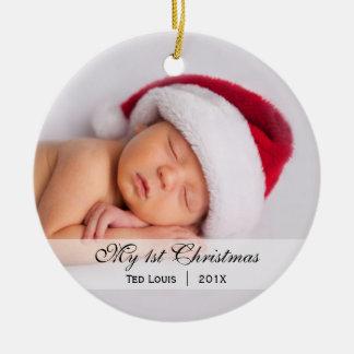 Foto-Verzierung das | des Babys erste Weihnachts Rundes Keramik Ornament