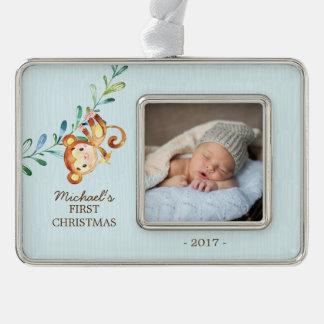 Foto-Verzierung des Affe-Jungen-Babys erste Rahmen-Ornament Silber