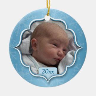 Foto-Verzierung des Babys blaue erstes Weihnachts Rundes Keramik Ornament