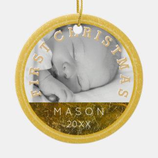 Foto-Verzierung des Babys erste des Weihnachten| Rundes Keramik Ornament