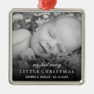 Foto-Verzierung des Babys erste fröhliche kleine Silbernes Ornament