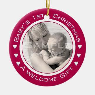 Foto-Verzierung des Babys kundenspezifische rote Rundes Keramik Ornament