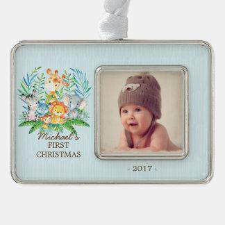 Foto-Verzierung des Dschungel-Jungen-Babys 1. Rahmen-Ornament Silber