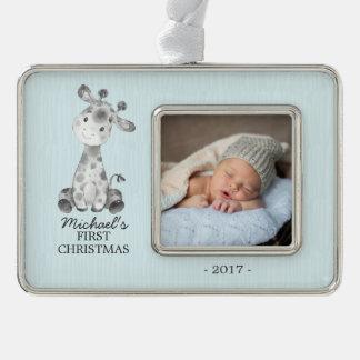 Foto-Verzierung des Giraffen-Jungen-Babys erste Rahmen-Ornament Silber