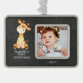 Foto-Verzierung des Giraffen-Mädchen-Babys erste Rahmen-Ornament Silber