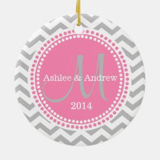 Foto-Verzierungs-graues Zickzack und rosa Keramik Ornament