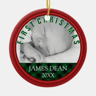 Foto-Verzierungs-rotes Grün des Babys erste Keramik Ornament