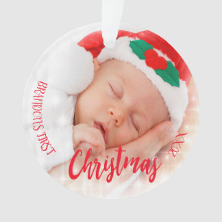 Foto-Verzierungsrot des Babys erstes Weihnachts Ornament