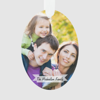 Foto-Weihnachtsfeiertags-Skript der Familien-2 Ornament