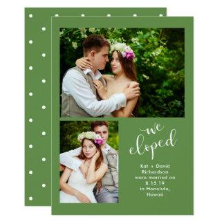 Foto zwei des Chic-Grün-  Eloped wir Mitteilung 12,7 X 17,8 Cm Einladungskarte