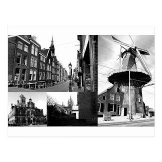 Fotocollage Delft 1 in Schwarzweiss Postkarte
